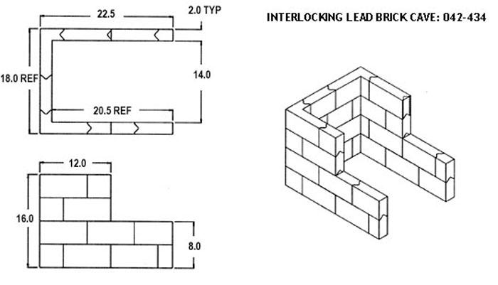 Interlocking Lead Brick Cave: 042-434 Diagram